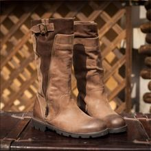 Handmade genuine leather boots vintage boots first layer of cowhide knee-high martin boots women shoes free shipping(China (Mainland))