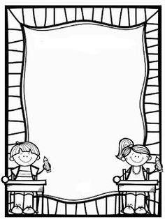 Page Borders Design, Border Design, Borders For Paper, Borders And Frames, School Coloring Pages, Colouring Pages, Page Boarders, School Border, Kindergarten Portfolio