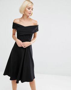 Image 1 ofASOS Midi Skater Dress with Bardot Neckline