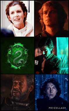 Star Wars Characters + Hogwarts Houses: Slytherin. Fan Edit by Pretentious Shirley. Princess/General Leia Organa, Anakin Skywalker/Darth Vader, Captain Cassian Andor, Saw Gererra, Kylo Ren.