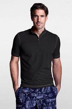Men's Short Sleeve Half-zip Mockneck Rash Guard from Lands' End - I want for this summer.