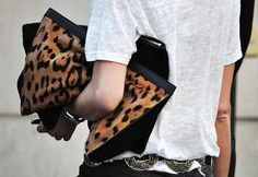 Must-Try Bag: THE OVERSIZED PORTFOLIO CLUTCH. a tee shirt and jeans feel elevated and thoughtful with a leopard pony hair bag!