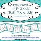 This set covers Dolch words for pre-primer, primer, first grade, second grade, third grade, fourth grade, and fifth grade. Each grade level has its...