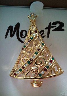 "Monet 2 Retro 1990""s Christmas Tree Pin Fabulous"
