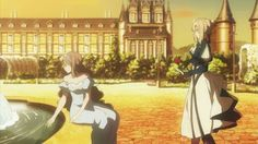 Violet Evergarden and Princess Charlotte Dandere Anime, Home Screen Pictures, Violet Evergreen, Charlotte Anime, Violet Evergarden Anime, Digital Art Anime, Kyoto Animation, 1 Gif, Pretty Backgrounds
