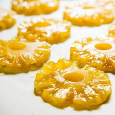 Jump to Recipe Print Recipe Candied pineapple, according to a quick informal poll of my friends, is typically thought of as dried pineapple that has been sugared. My recipe was about as dry as a St. Canning Recipes, Candy Recipes, Fruit Recipes, Cupcake Recipes, Sweet Recipes, Dessert Recipes, Fudge Recipes, Pineapple Candy Recipe, Pineapple Recipes