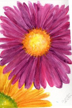 Yellow Daisy Purple Daisy watercolor painting by SharonFosterArt, $18.00