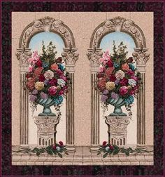 Floral Arch Duo Belgian Wall Tapestry
