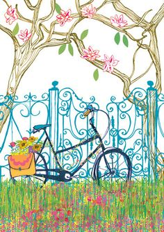 Magnolia Bicycle Art Print by Louise Cunningham at King & McGaw