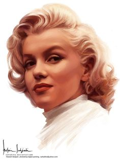 """Marilyn Monroe"" - Hossein Sadjadi, Photoshop, 2012 {contemporary artist beautiful blonde female redhead celebrity actress woman face portrait cropped digital painting} sahabiha.deviantART.com"