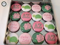 Delta Zeta 16 1-Inch Magnet Set  This set consists of 16 1-inch magnets in a 4 inch square tin. These strong magnets have a handy mylar protective