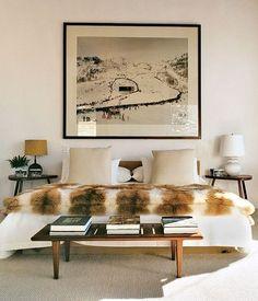 black + white + fur bedroom, big print