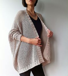 Angelina - easy trendy cardigan (knit) Knitting pattern by Vicky Chan Designs Knitting Patterns Free, Knit Patterns, Free Knitting, Free Pattern, Knitting Machine, Gilet Crochet, Knit Crochet, Modelos Fashion, How To Purl Knit