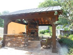 Outdoor kitchen/pavilion made of cypress.