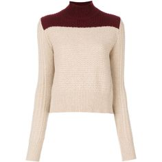 Marni bi-colour roll neck sweater (€645) ❤ liked on Polyvore featuring tops, sweaters, nude, slim sweaters, rollneck sweaters, pink tops, color-block sweater and colorblock top