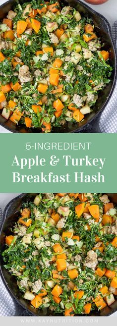 Made with ground turkey, apple, squash and kale, this Turkey Apple Breakfast Hash is a healthy and easy egg-free breakfast! This breakfast hash is made in one pan and is a high-protein, low-carb breakfast that is easy to prepare. Apple Breakfast, Breakfast Hash, Vegetarian Breakfast, Free Breakfast, Breakfast Ideas, Cookbook Recipes, Real Food Recipes, Vegetarian Recipes, Healthy Recipes