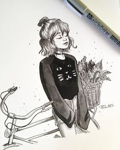 Instagram photo by juditmallolart - #inktober day 29! Taking a moment to enjoy the sunshine