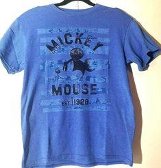 Disney Mickey Mouse Blue Tee Shirt Medium Black Print Cartoon Character #Disney #GraphicTee Mickey Mouse T Shirt, Vintage Mickey Mouse, Disney Mickey Mouse, Walt Disney Cartoons, Disney Cartoon Characters, Yellow Shorts, Comic Styles, Printed Tees, Mens Xl