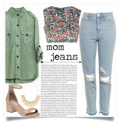 """mom jeans"" by thelifeofthesunflowerqueen ❤ liked on Polyvore featuring Glamorous, Topshop, Steve Madden and Panacea"