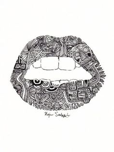 ImageFind images and videos about art, black and white and lips on We Heart It - the app to get lost in what you love. Tumblr Drawings, Art Drawings, Dental Art, Drawing Journal, Love Illustration, Favim, Lip Art, Colouring Pages, Coloring Book