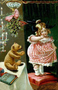 Vintage Christmas Mistletoe Postcard