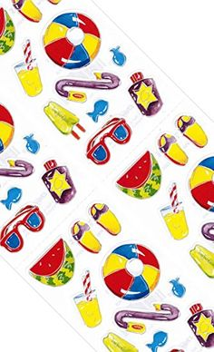 """Custom & Decorative {.25"""" to 1"""" Inch} 176 Bulk Pack of Small Stickers for Arts, Crafts & Scrapbooking w/ Cartoon Beach Day Pool Party Fun Summer Fruit & Drinks {Yellow, Red, Purple & Green}"""