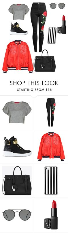 """"""""""" by janb-1 ❤ liked on Polyvore featuring Boohoo, Moschino, H&M, Yves Saint Laurent, Ray-Ban and NARS Cosmetics"""