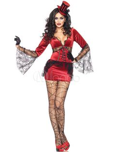 Sexy Red Lace Decorated Velvet Halloween Witch Costume  sc 1 st  Pinterest & Black Lace Demon Halloween Witch Costume | ?arod?jnice Produkty a ...