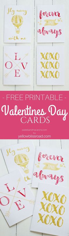 Free Printable Gold Foil Valentine Cards via Yellow Bliss Road - make the perfect gift this Valentines Day. You can even use them as small art prints that can be framed and given as the beautiful gifts.