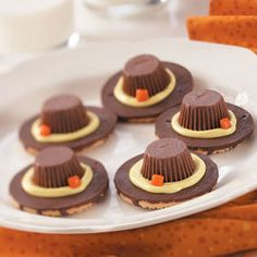"Pilgrim Hat Cookies: I 1st found this  recipe about 5 years ago in one of those 5"" x 7"" cookbooks you see at the checkout line in a grocery store. I made them with my daughter to bring to grandma's house for Thanksgiving dinner. Recipes like this are a great way to introduce your kids to cooking and following recipes. They're cute, the kids get a kick out of them and they taste good."
