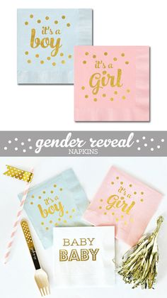 Gender Reveal Baby Shower Napkins Decor in Pink and Gold or Blue and Gold are printed with Its a Girl or Its a Boy  - by ModParty