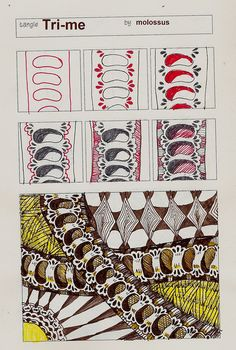 Tri-Me    This was drawn in one of Geneviève Crabe's Tangle Organizers. You can find out more at her blog.    Although, I've shown this as border, the Tri-me tips work almost any place that you have a regular indentation. Just one set of Tri-me tips won't add a lot (though it can help), but if you have a pattern with a regular in and out flow, adding those three little tear-drop shapes can add an eye-catching delicacy.