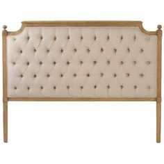 Tufted headboard upholstered in natural linen. Fluting and decorative carvings. $1254