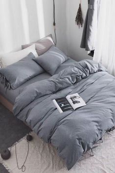 3 Piece Washed Cotton Duvet Cover Set is part of Gray duvet cover - Queen King duvet cover 104 90 , pillow sham 36 20 ; Queen duvet cover 90 90 , pillow sham 26 20 Package included 2 x pillow shams 1 x duvet cover Bedroom Inspo, Home Bedroom, Bedroom Decor, Bedroom Ideas, Bedding Decor, Boho Bedding, Master Bedroom, Grey Duvet, Gray Bedding