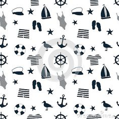 Seamless pattern with marine blue icons on white-swimsuit; anchor; the steering wheel and the other