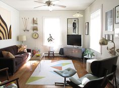 Narrow Living Room Tv Design, Pictures, Remodel, Decor and Ideas - page 16 Narrow Living Room, Mid Century Modern Living Room, Eclectic Living Room, Living Room Tv, Living Room With Fireplace, Living Room Lighting, Apartment Living, Living Room Furniture, Living Room Designs
