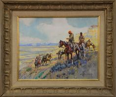 """JAMES KENNETH RALSTON (1896-1987)  Captain Clark on the Yellowstone  oil on canvas  signed lower right J. K. Ralston 66  11"""" x 14"""""""