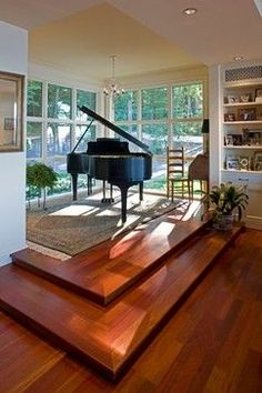Home Sweet Home Piano Room: Vincent Greene Architects - Round Hill House - Gibson Island, MD Bridal Grand Piano Room, Piano Room Decor, Piano Living Rooms, Home Music Rooms, The Piano, House On A Hill, My Dream Home, Home And Living, New Homes