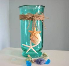 Beach Decor Shell Vase - Nautical Decor Seashell Vase or Hurricane Candle in Green