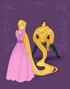 Rapunzel and Eugene carrying her hair