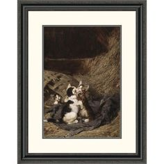 Global Gallery 'Kittens in the Hay' by Julius Adam Framed Painting Print Size: