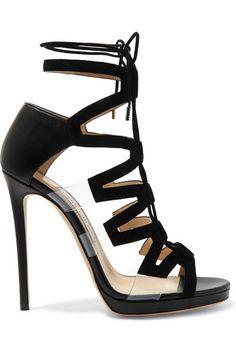 JIMMY CHOO Dani Cutout Leather, Suede And Pvc Sandals. #jimmychoo #shoes #sandals
