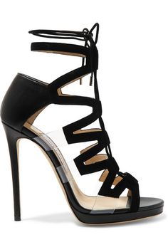 Heel measures approximately 120mm/ 5 inches with a 10mm/ 0.5 inches platform Black leather and suede, clear PVC Ties at ankle  Made in Italy