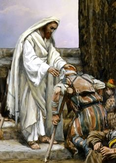 """James Tissot, Jesus Heals the Sick. """"At that very time Jesus cured many who had diseases, sicknesses and evil spirits, and gave sight to many who were blind. Bible Pictures, Jesus Pictures, Jesus Pics, Catholic Art, Religious Art, Miracles Of Jesus, Jesus Heals, Biblical Art, Jesus Christ"""