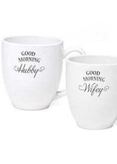 "This Wifey & Hubby mug set is a sure fire way to guarantee a happy morning - even on dreary Mondays! It's a white ceramic mug set with one mug reading ""Good Morning Hubby"", while the other reads ""Good Morning Wifey"". This cute mug set is the perfect gift for a newlywed duo."