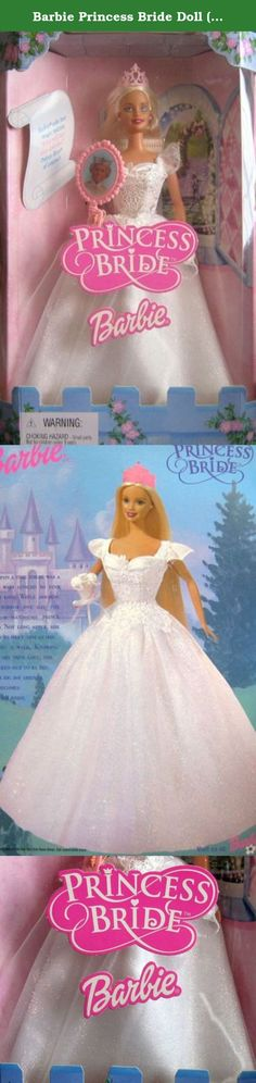 """Barbie Princess Bride Doll (2001). Barbie Princess Bride Doll is a 2001 Mattel production, Model #50603. Princess Barbie has long pale blond hair and blue eyes. Barbie is approx. 11.5"""" tall and wears a white low cut gown that is gathered at the center bustline. There's glittery white & gold voile puff cap sleeves on the gown, and on the upper portion of the gown, across the front bust and downwards, there's glittery white & gold lace that extends down approx 1"""" past the waist into the…"""
