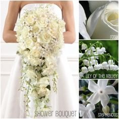 """waterfall"" bouquet. love the combination of flowers, not crazy about the style"