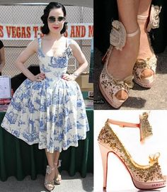 Toile dress and Marie Antoinette inspired shoes on Dita. (sigh)