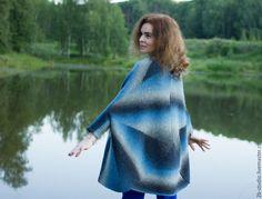 Купить Пальто валяное Вязаное пальто - Машинное вязание, вязаная кофточка, кофта вязаная
