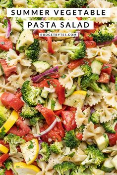 This light and fresh Summer Vegetable Pasta Salad is perfect for summer BBQs and potlucks, or your weekly meal prep. BudgetBytes.com Light Pasta Salads, Vegetable Pasta Salads, Healthy Pasta Salad, Best Pasta Salad, Summer Pasta Salad, Summer Salads, Vegetarian Pasta Salad, Veg Dishes, Vegetable Dishes